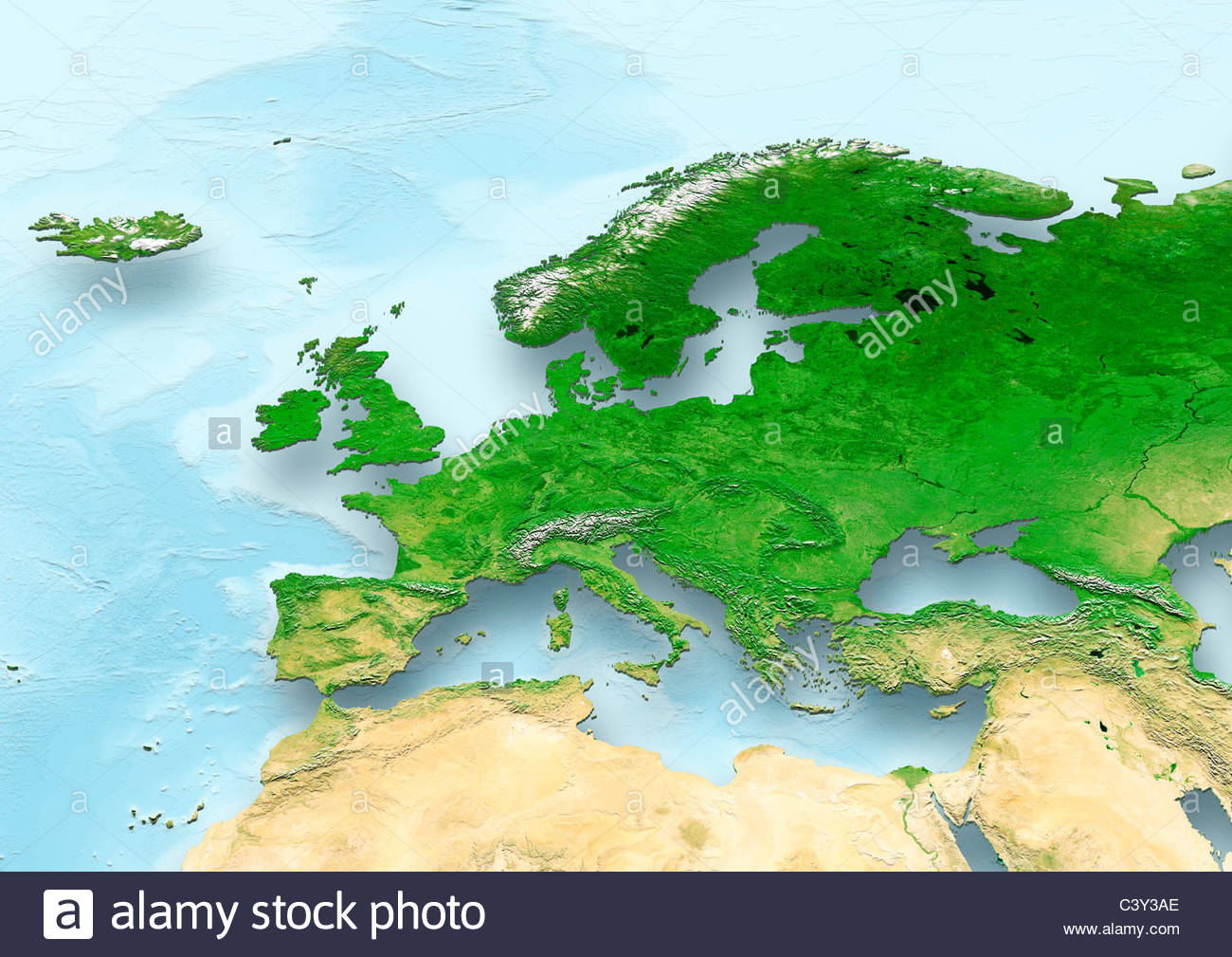 map, Western Europe, political, relief map Stock Photo: 36860054 - Alamy