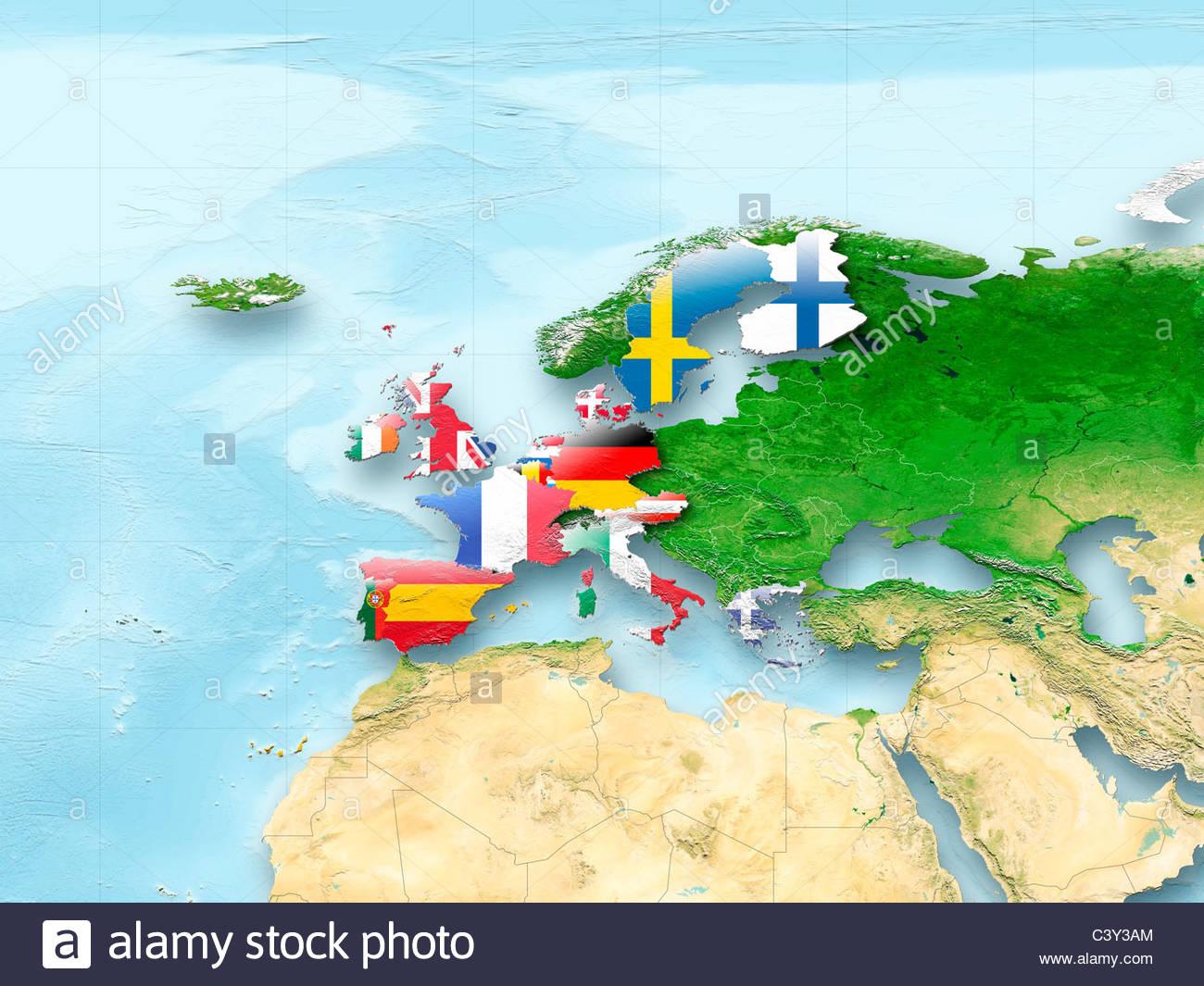 Map, Western Europe, Flag, Flags, European Union, Flag, Political