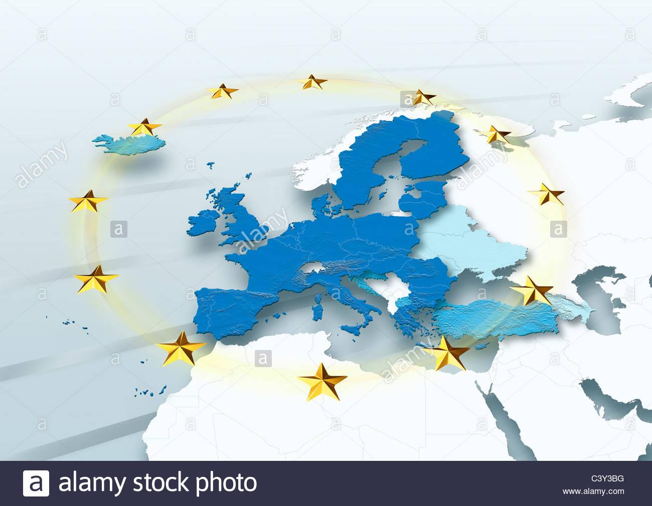 Map, Western Europe, European Union, Political, Physical, EU Stars