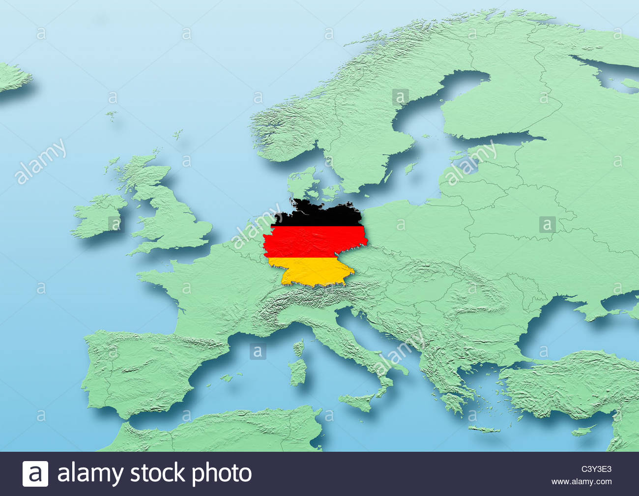Germany Flag Map Western Europe Green Blue Physical Political