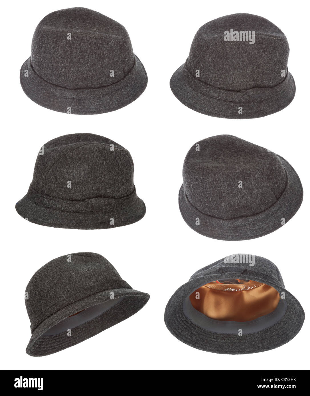 Tweed hat collection made of wool with white background - Stock Image