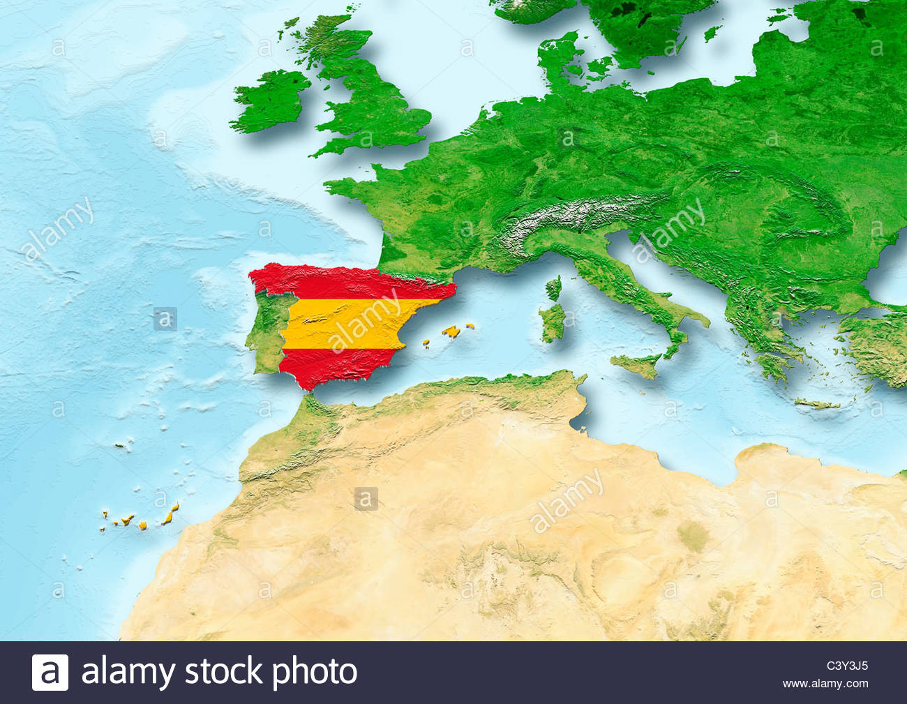 Spain flag map Western Europe physical Stock Photo 36860269 Alamy