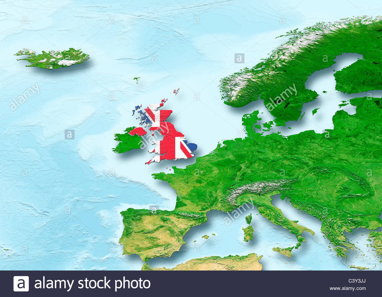 United Kingdom, U.K. Britain, flag, map, Western Europe, physical - Stock Image