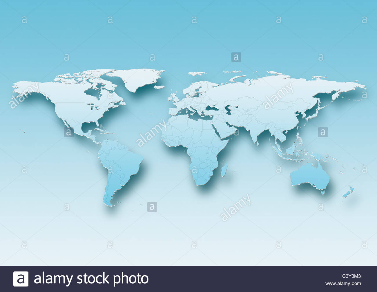 map, world, europe centered, blue, political - Stock Image