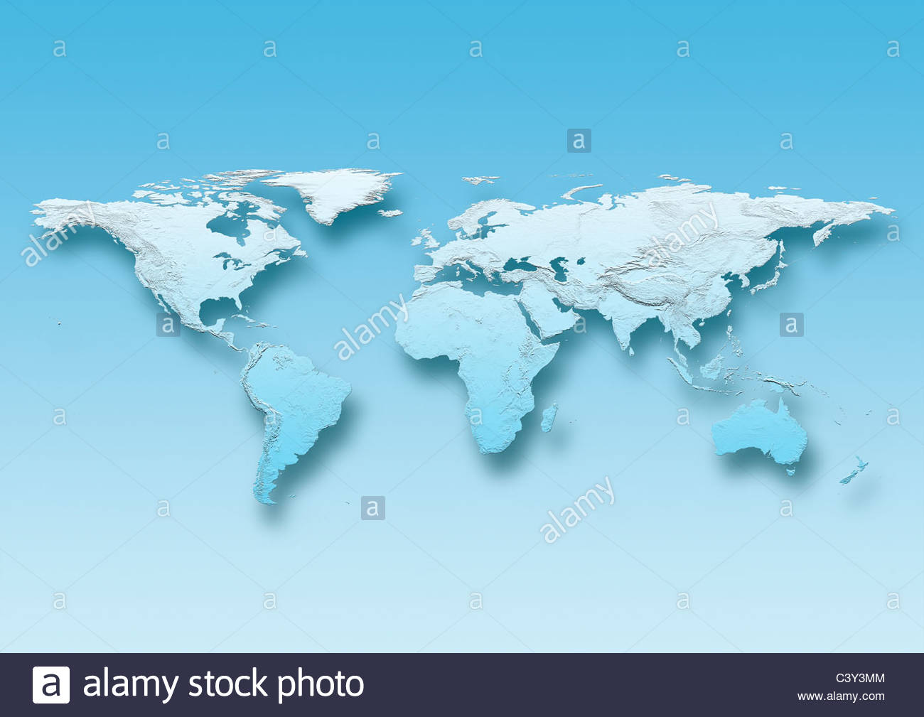 map, world, europe centered, physical, blue, - Stock Image