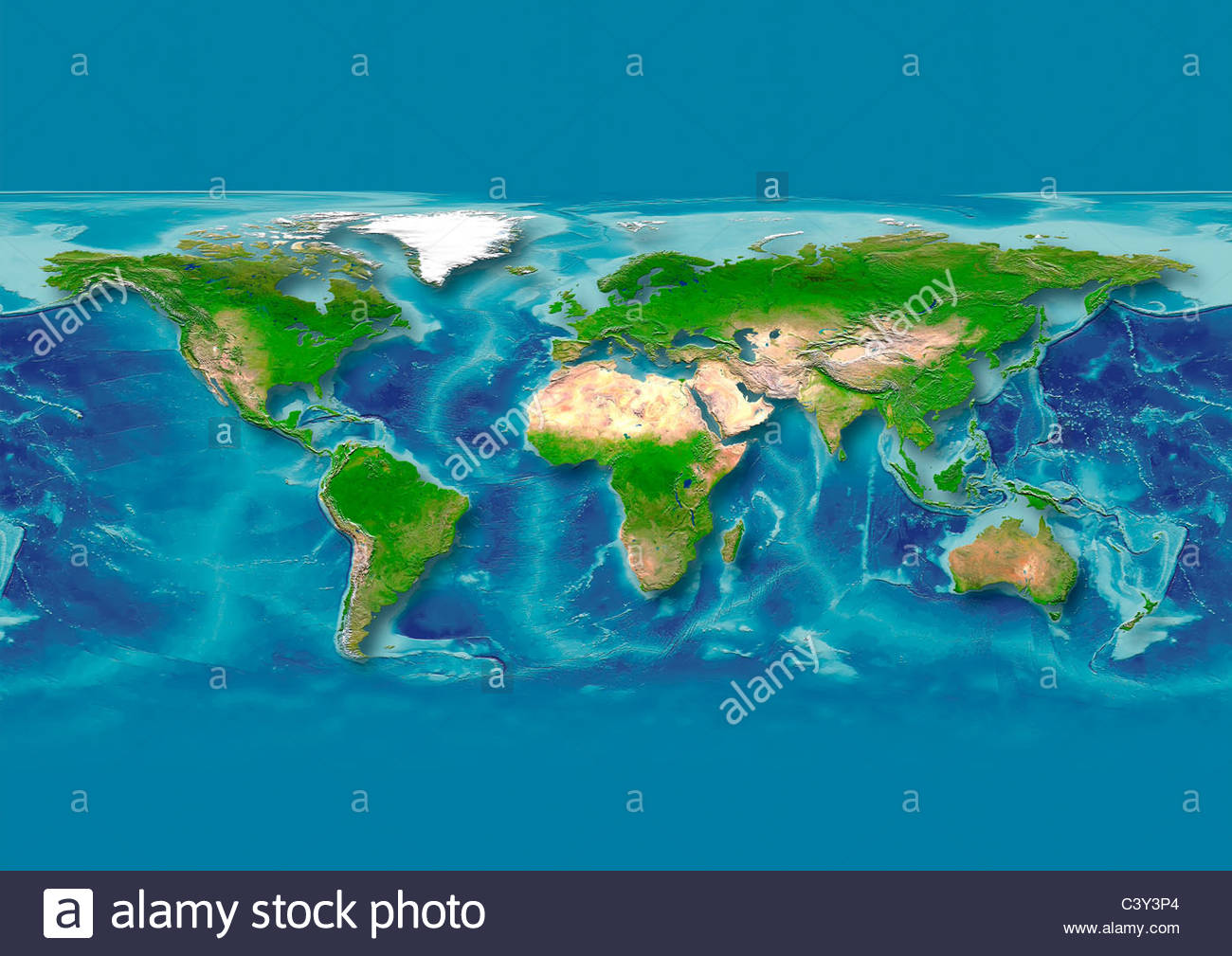map, world, europe centered, physical, dark blue - Stock Image