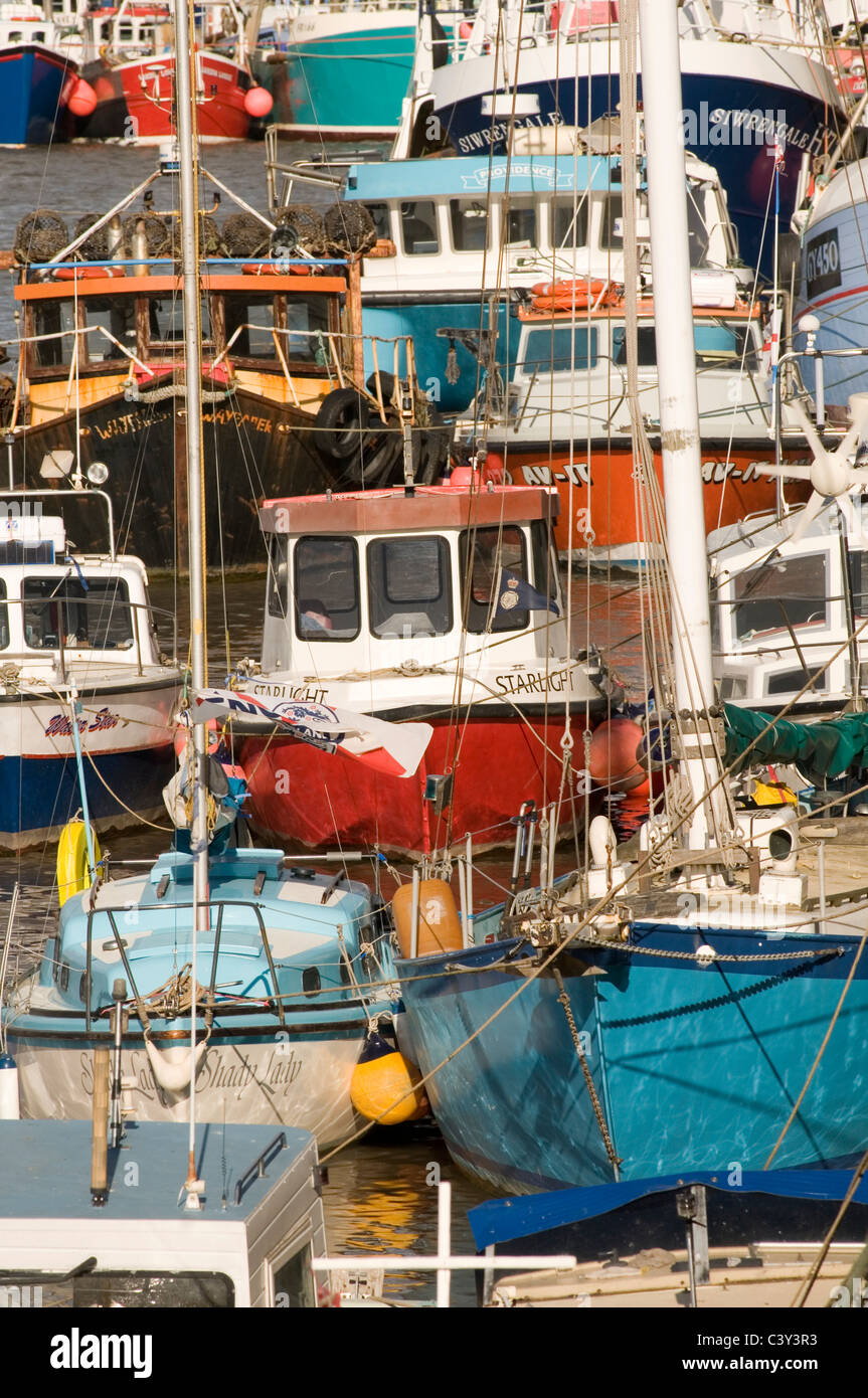 fishing quota quotas boat boats trawler trawlers industry small day catch catching landing harbor harbors net nets - Stock Image
