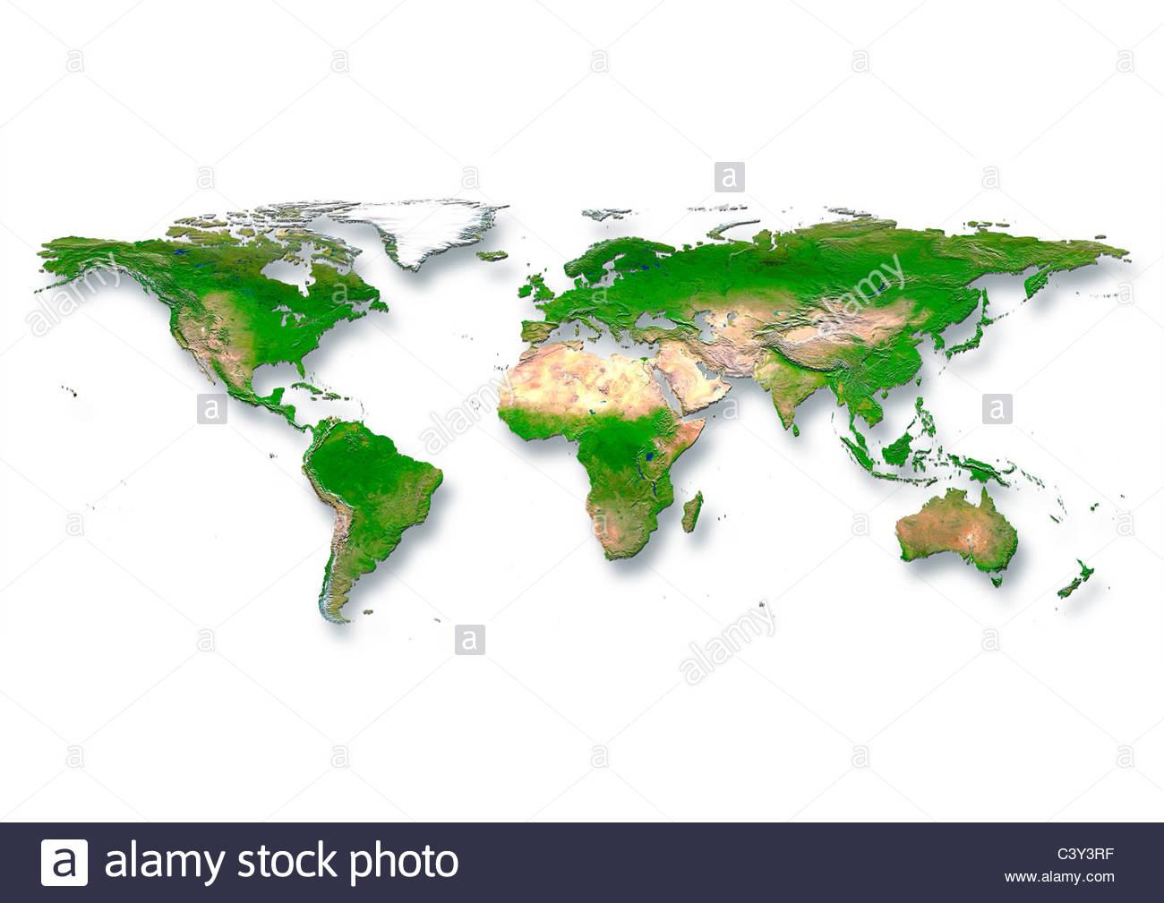 map, world, europe centered, physical, white - Stock Image