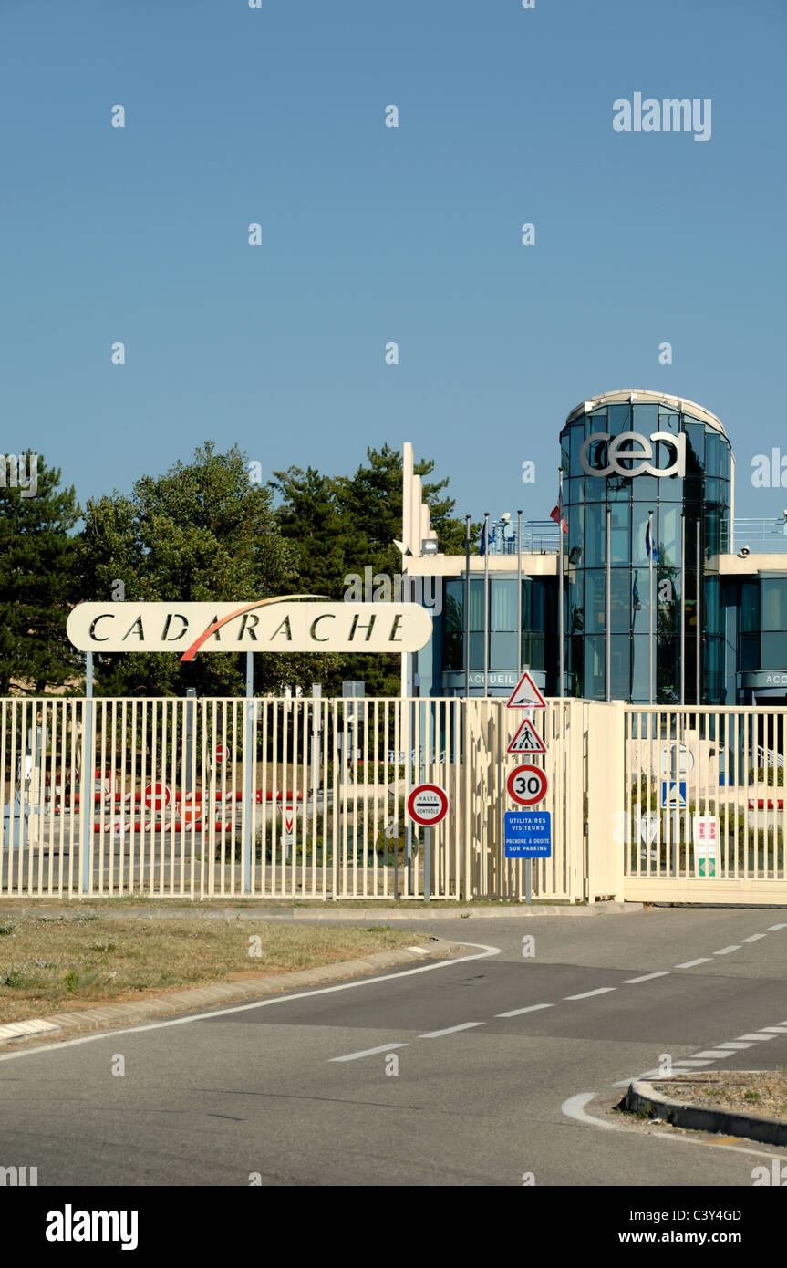 Entrance Cadarache Nuclear Research Centre, Site of the Tokamak Nuclear Fusion Power  Reactor & Project ITER, - Stock Image