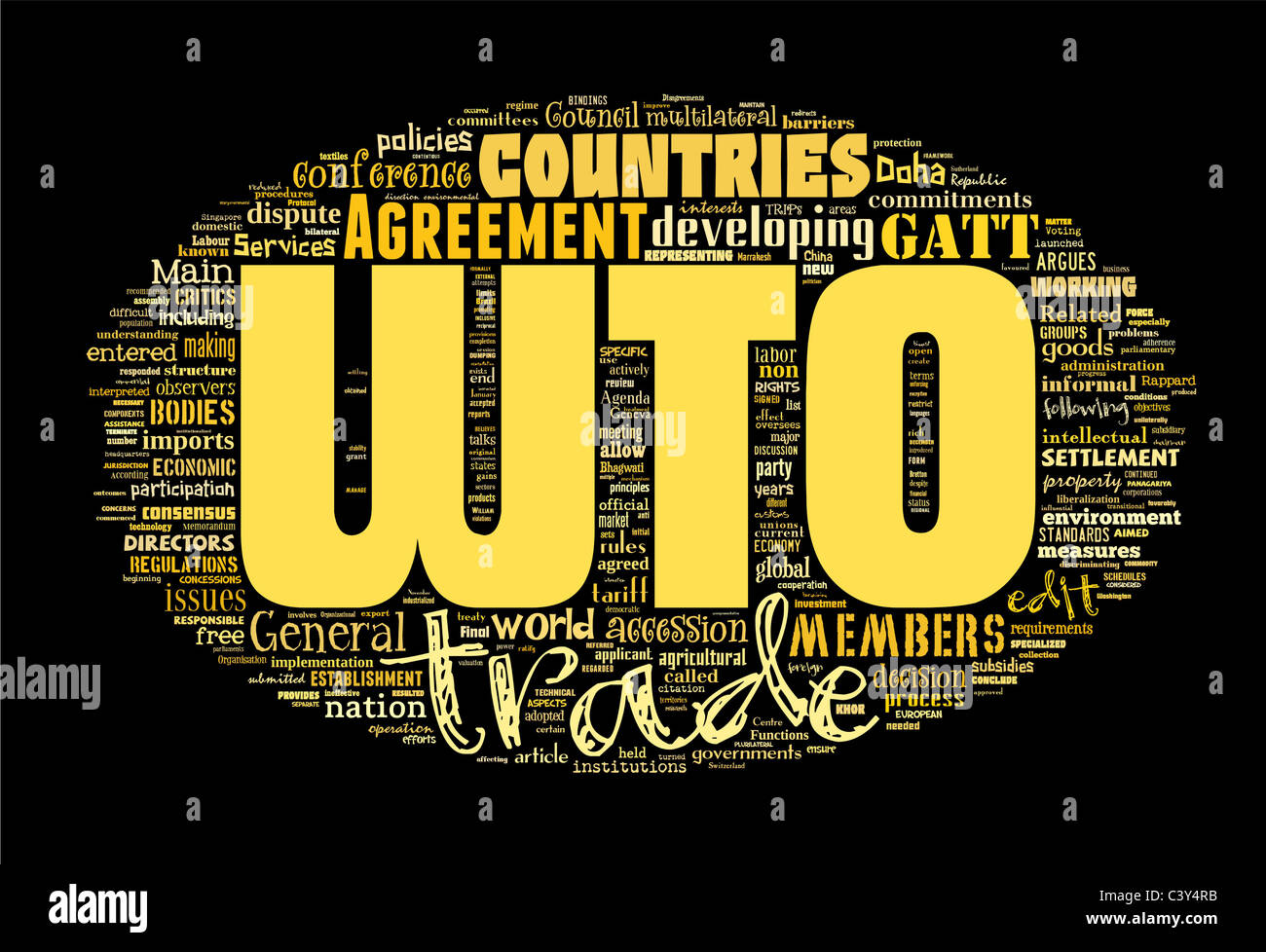 Wto World Trade Organization Isolated On Black Stock Photo