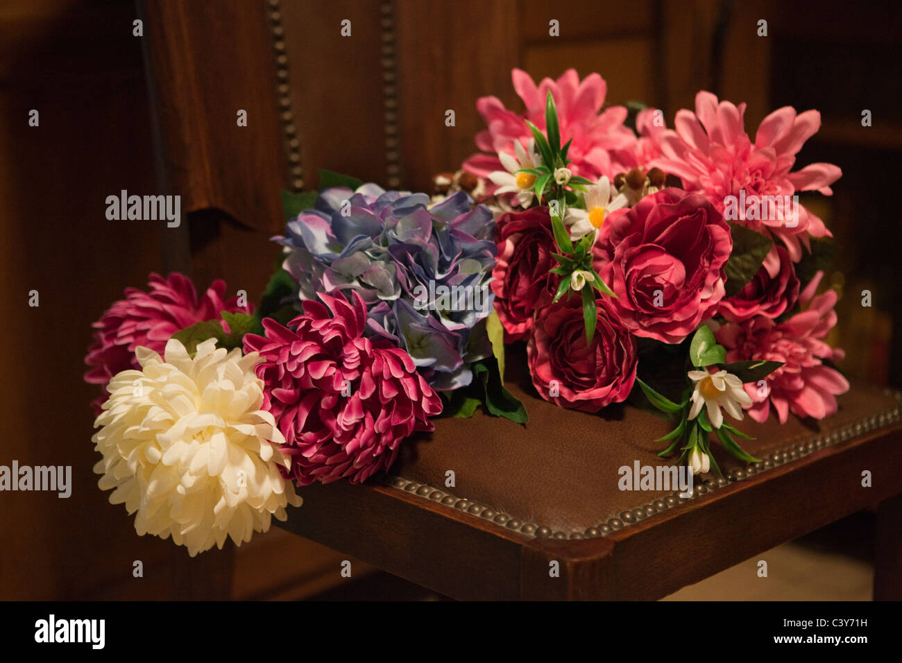 Leather Chair Flowers Stock Photos Leather Chair Flowers Stock