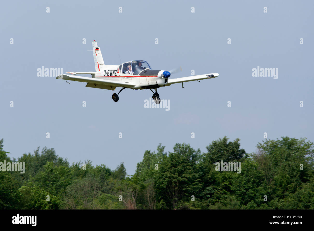 sporting airplane Zlin 42 at an airfield festival in Lower Saxony, Germany - Stock Image