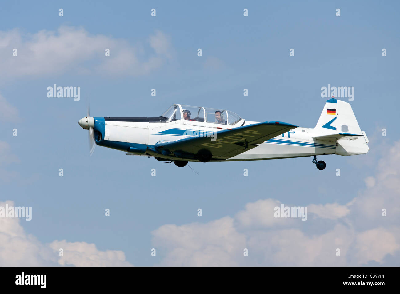 sporting airplane Zlin at an airfield festival in Lower Saxony, Germany - Stock Image