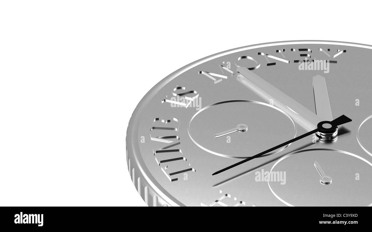 Time is Money. Perspective view of a Coin with a Clock - Stock Image