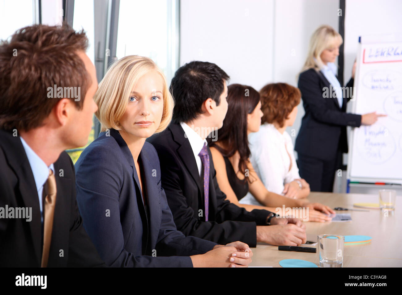 work, job, office, team, group, people, presentation, appeal, conference, conference room, business, firma, flipchart, - Stock Image