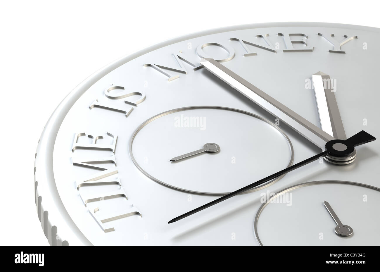 Time is Money. Perspective view of a Coin with a Clock Stock Photo