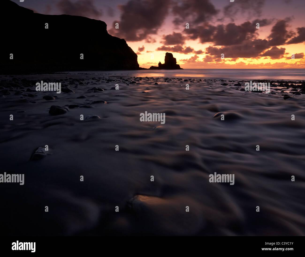 Talisker Bay on the Isle of Skye on a November evening Stock Photo