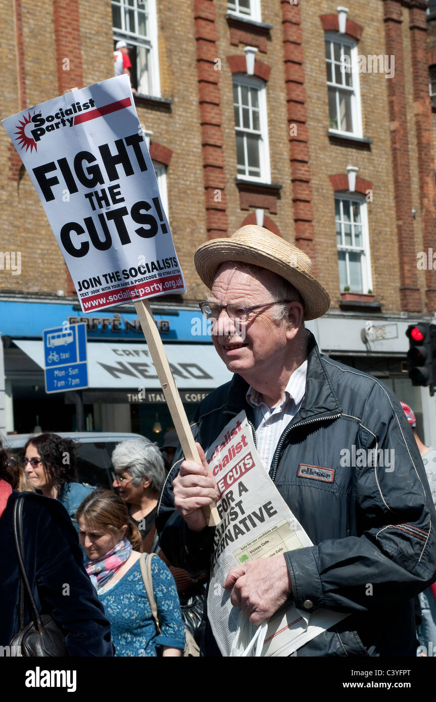 May Day Parade, Older demonstrator marching down Theobalds Road, London, UK, 2011 - Stock Image