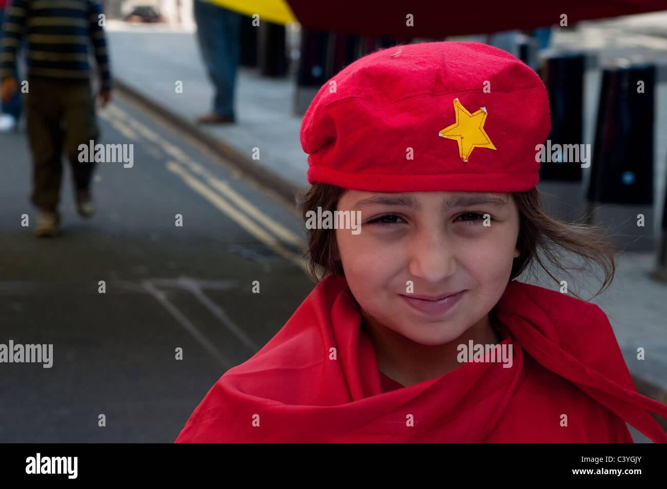 May Day Parade, Turkish child demonstrator marching down Theobalds Road, London, UK, 2011 - Stock Image