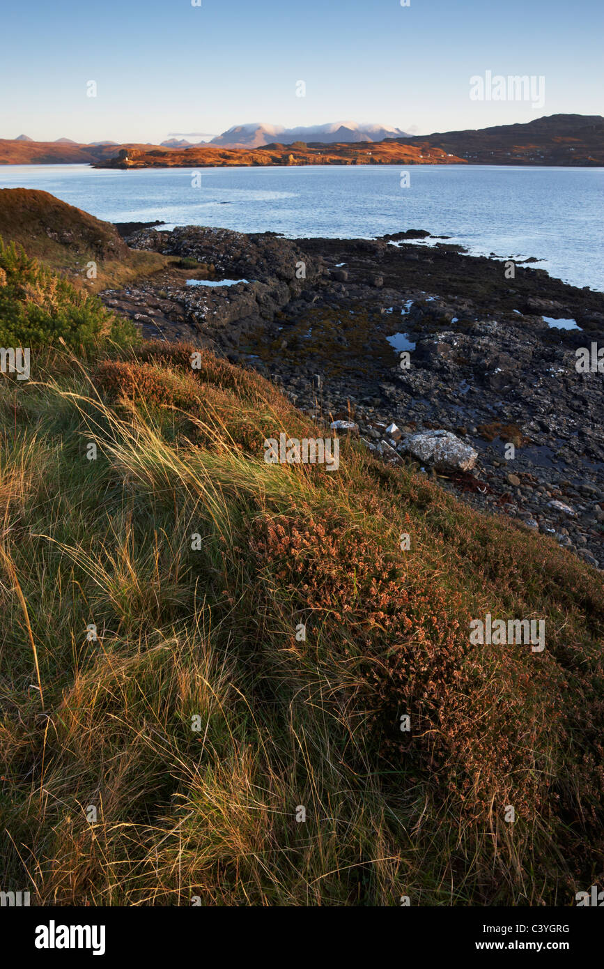 A view from Ullinish point in the South of the Isle of Skye looking towards the Cuillin Hills Stock Photo