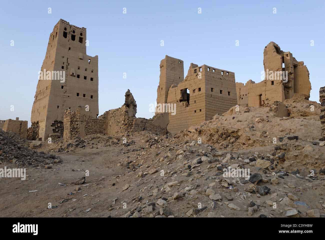 Old town, City, Marib, Yemen, Arabia, Middle East, Abandoned, Tower houses, Houses, Architecture, Ruins, Ruin - Stock Image