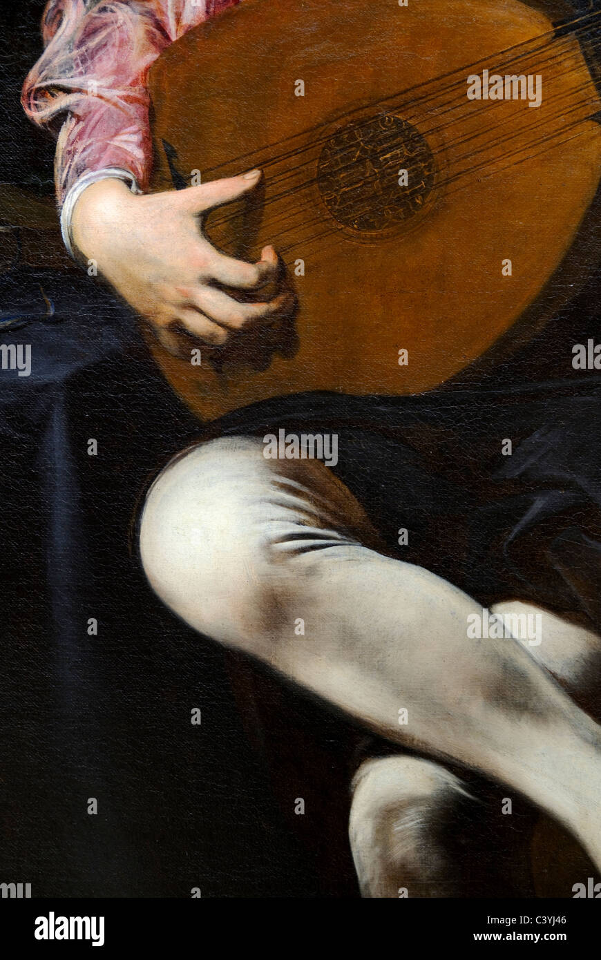 Detail: The Lute Player, ca. 1626, by Valentin de Boulogne, - Stock Image