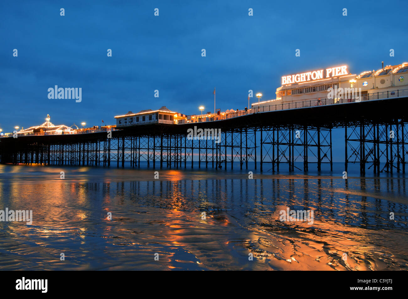 brighton pier,sussex,england,uk,travel,europe,space,coast,beach,pier,victorian,night,dusk, - Stock Image