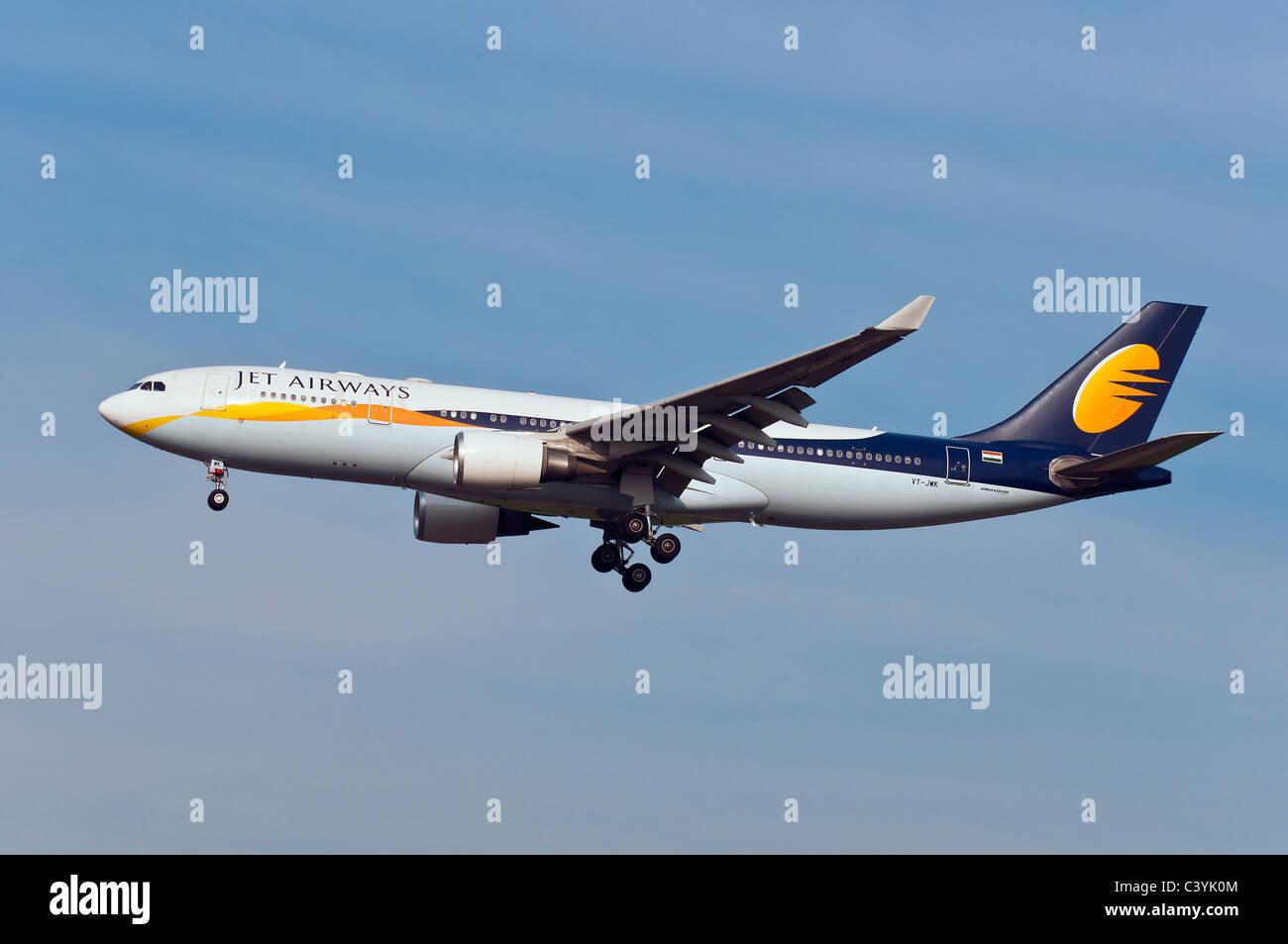 Indian carrier Jet Airways' Airbus 330 landing at Milan Malpensa airport, Italy - Stock Image