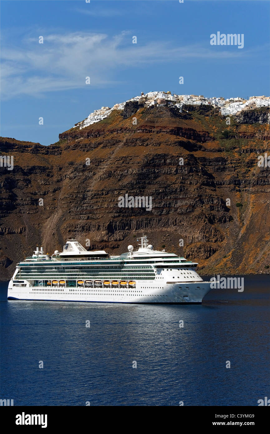 Europe, Greece, Greek Islands, Santorini, Thira, Cycladic group, Fira, RCCL, Royal Caribbean Cruise Line, cruise Stock Photo