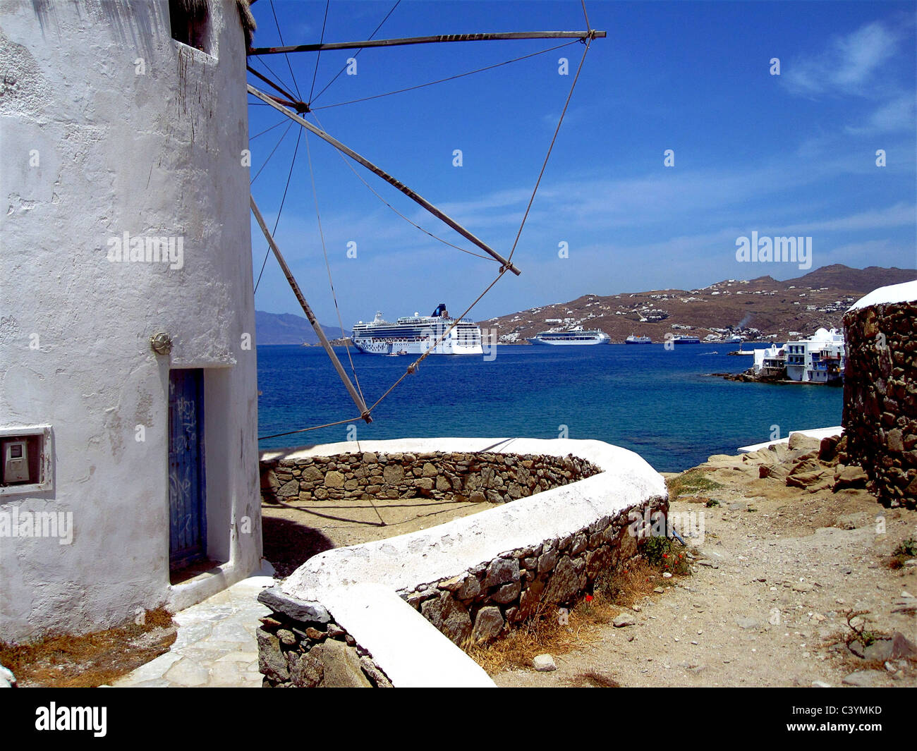 Europe, Greece, Greek Islands, Mykonos, aegean mediterranean, Cyclades Chora, white, painted, stucco, houses, architecture, - Stock Image