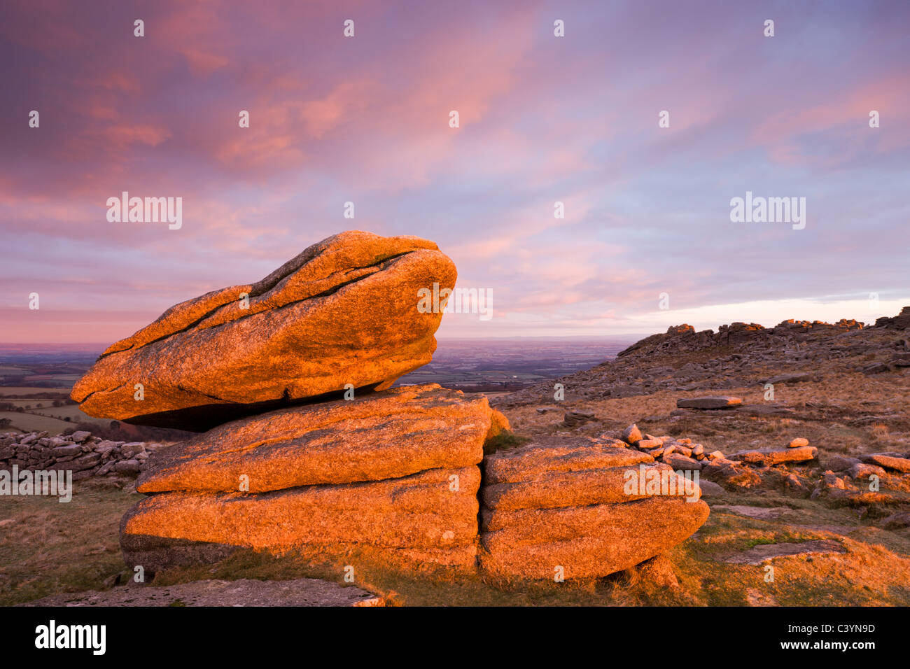Morning sunlight bathe a granite Logan Rock in a rich glow, Higher Tor, Dartmoor National Park, Devon, England. - Stock Image
