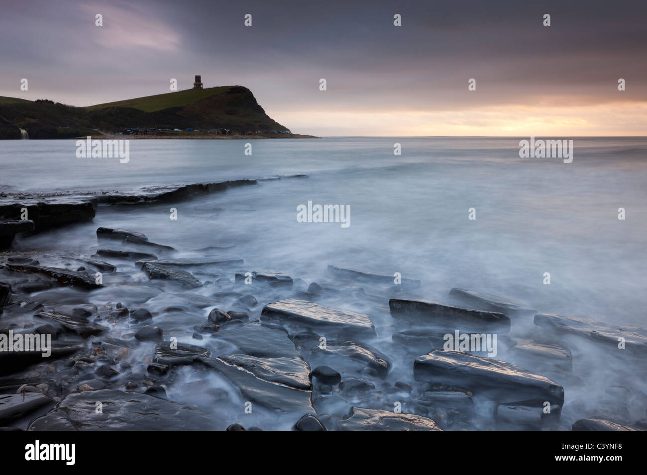 Kimmeridge Bay and Clavell Tower, Jurassic Coast, Dorset, England. Winter (February) 2011. - Stock Image