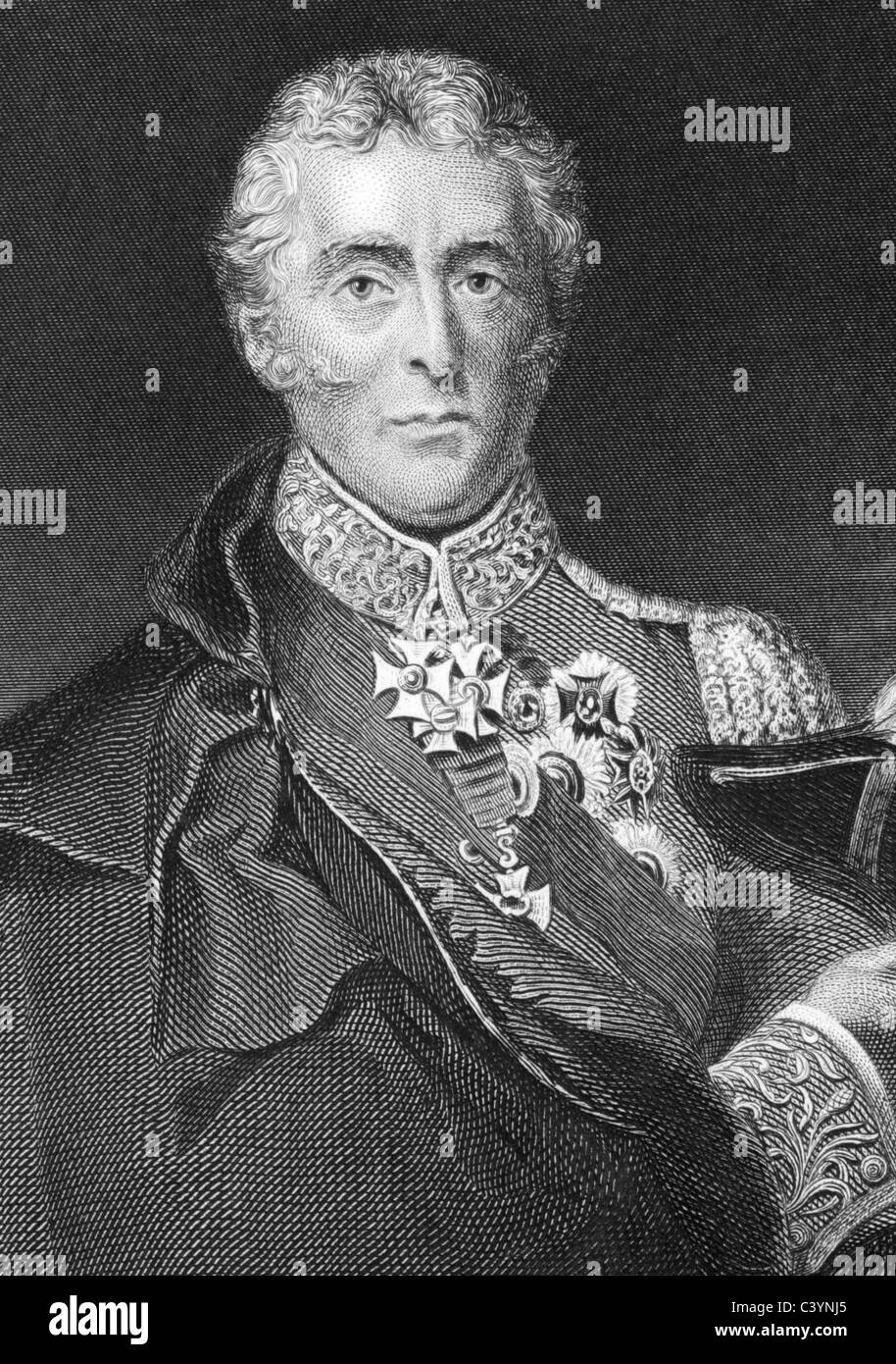 Arthur Wellesley, 1st Duke of Wellington (1769-1852) on engraving from 1800s. Soldier and statesman. - Stock Image