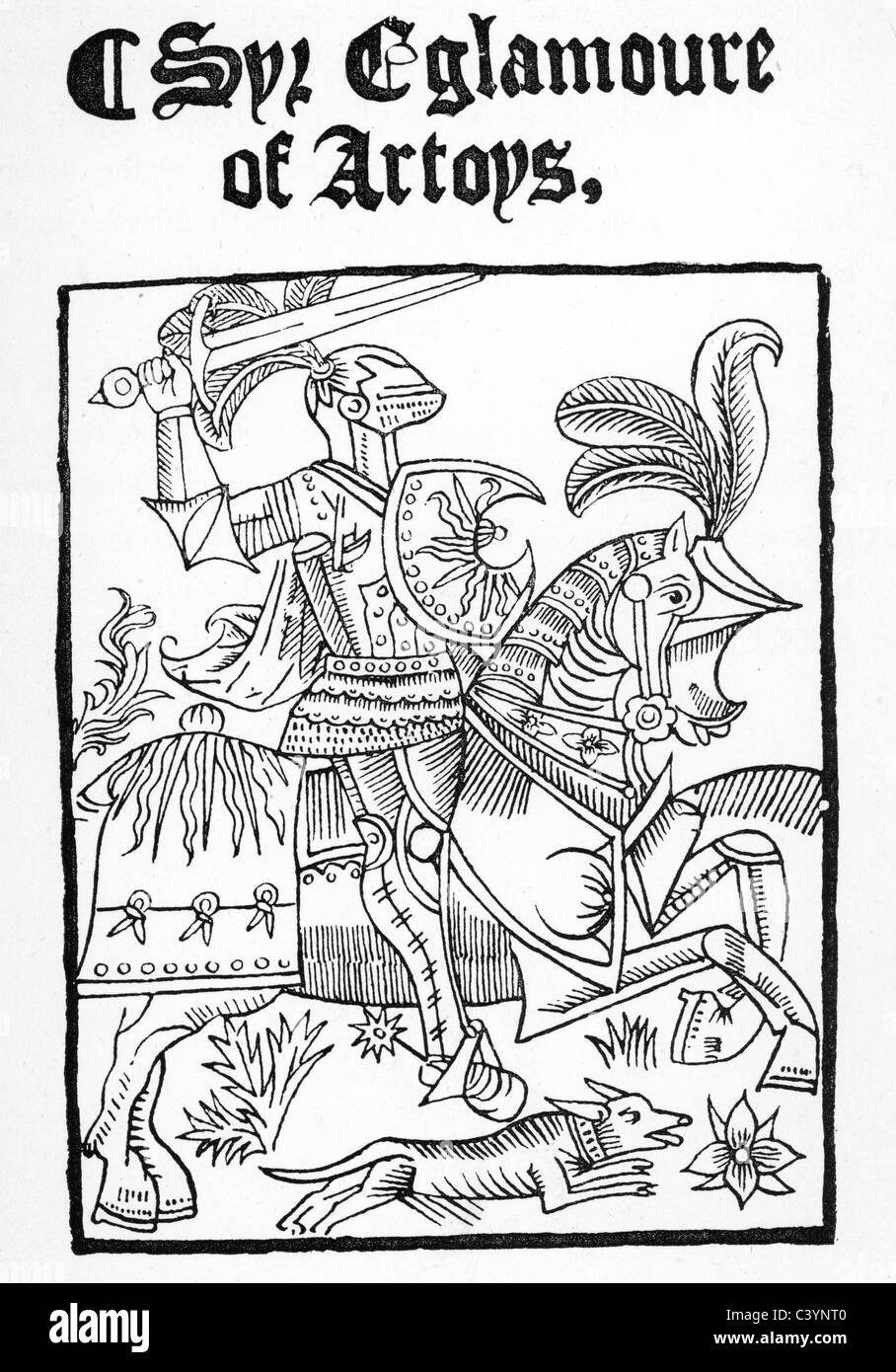 medieval woodcut showing sir eglamour of artois a middle english