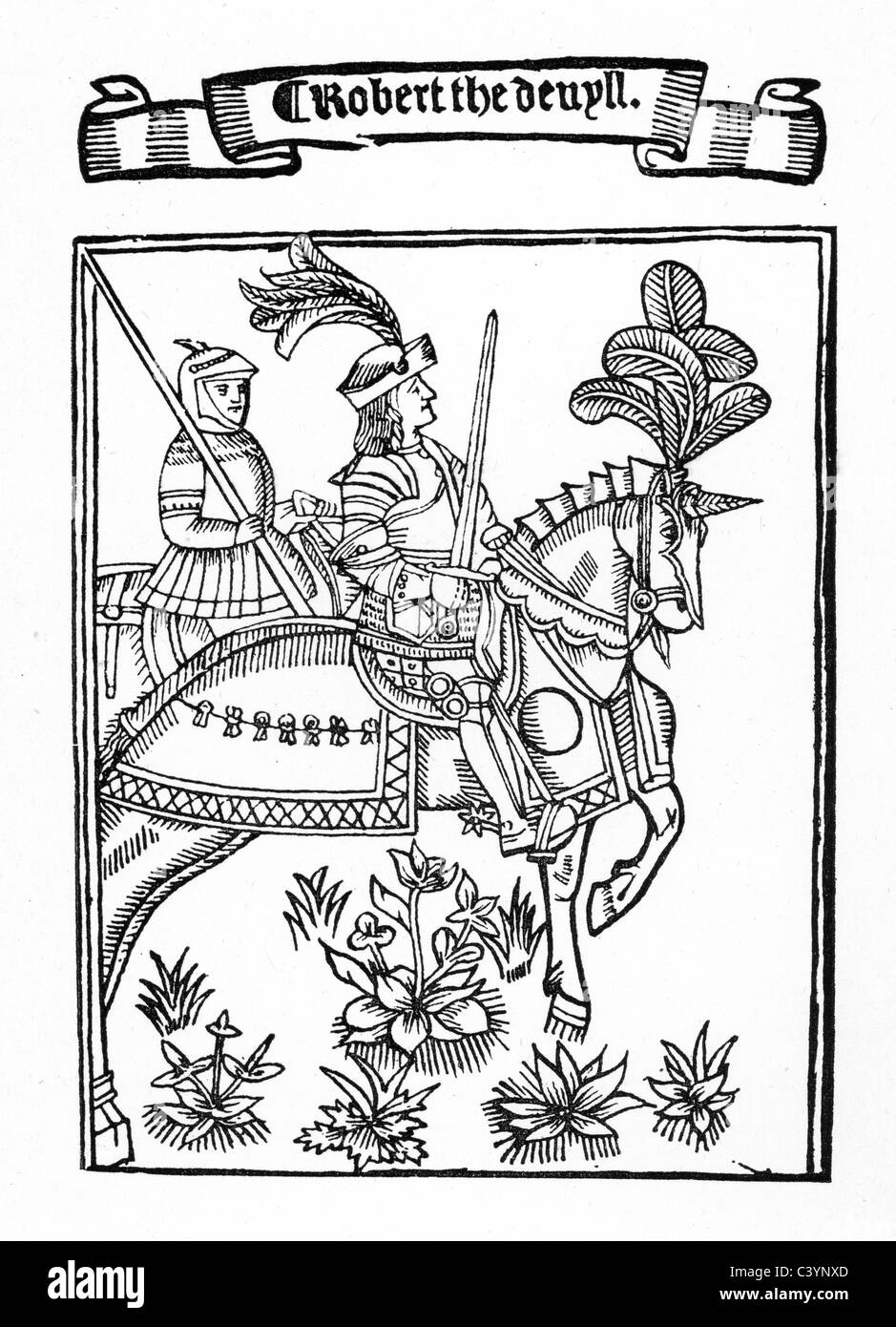 Medieval woodcut showing Robert the Devil, wearing a suite of armour and mounted on his horse Stock Photo