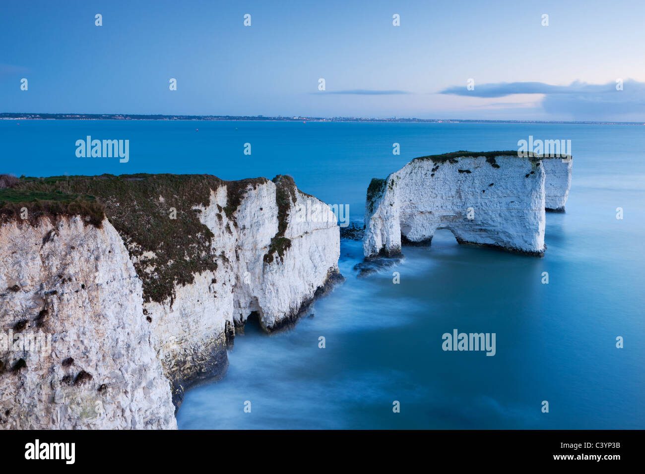 Old Harry Rocks at Handfast Point are the start of the Jurassic Coast World Heritage Site, Dorset, England. - Stock Image