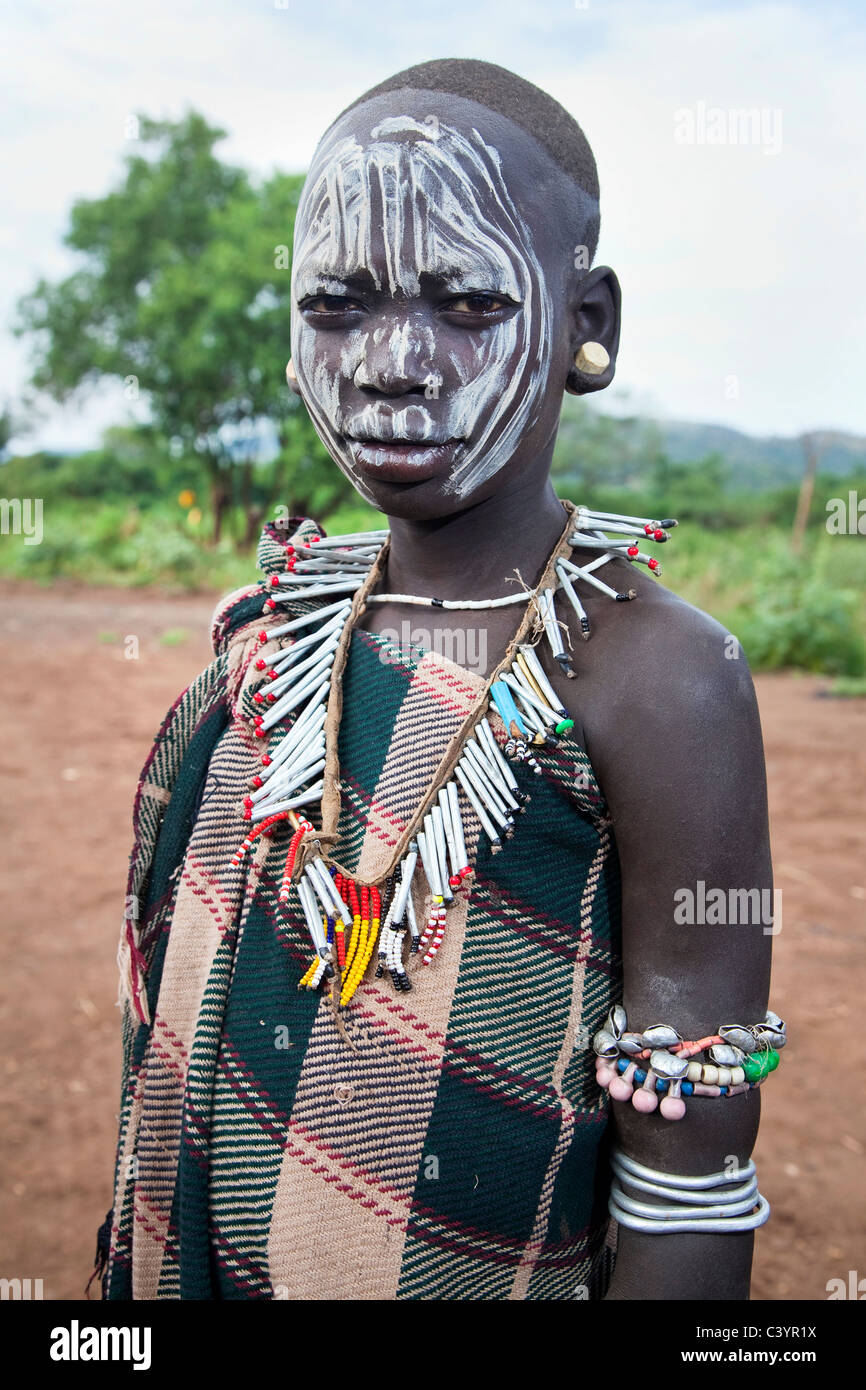 Mursi woman, tribal people in Shambel, Mago National Park, Ethiopia, Africa - Stock Image
