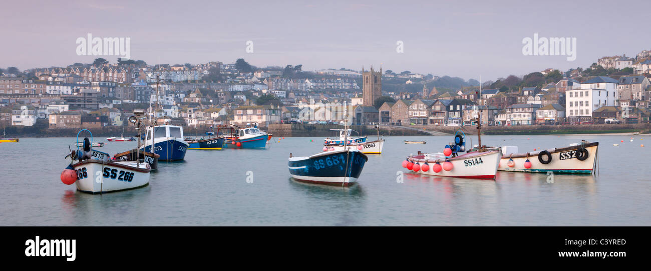 Fishing boats in St Ives Harbour, St Ives, Cornwall, England. Spring (March) 2011. Stock Photo