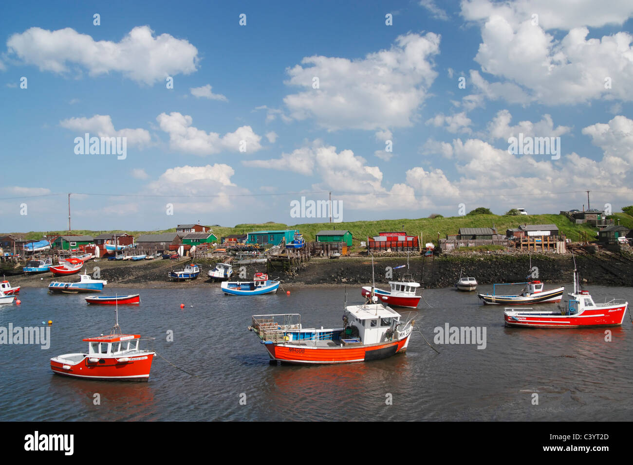 Fishing boats in Paddy's Hole, South Gare, Redcar, Cleveland, North East England, UK - Stock Image