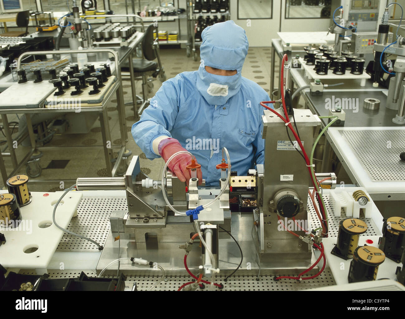 assembling assembly clean room computer constructing stock photo