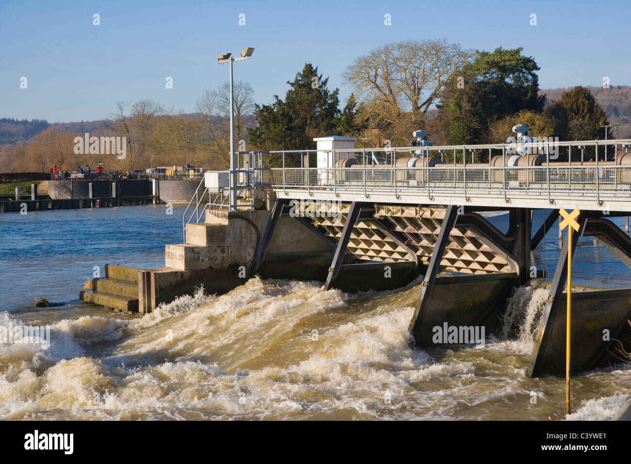 Hambleden Weir downstream of Henley-on-Thames. Oxfordshire. England. UK. - Stock Image