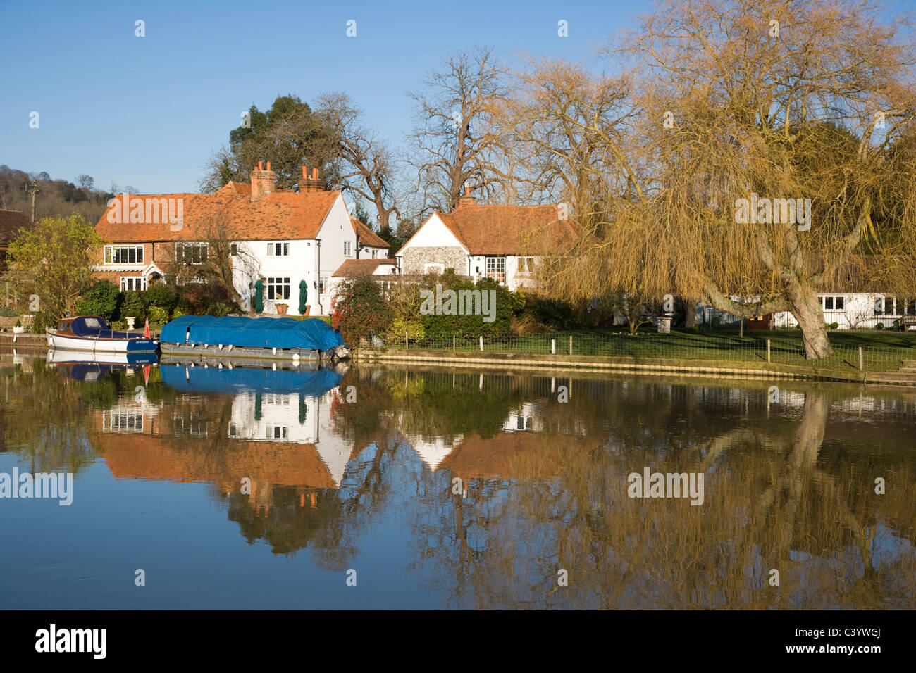 Views from Hambleden Weir downstream of Henley-on-Thames. Oxfordshire. England. UK. - Stock Image