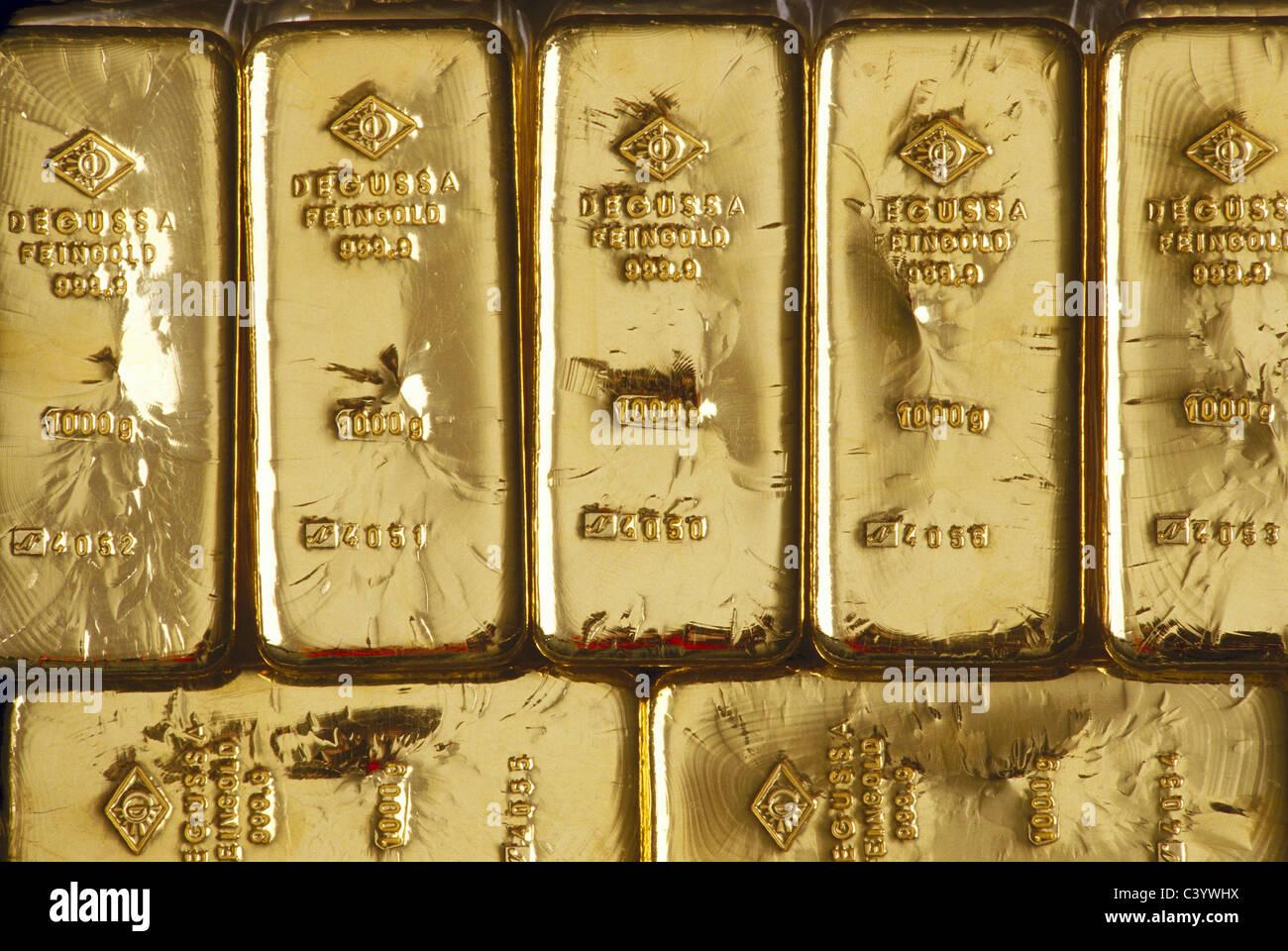 Bar, Element, Gold, Ingot, Kilogram, Metal, Precious Metal, Pure, Stamp - Stock Image