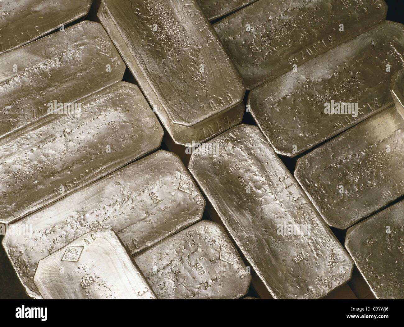 Bar, Element, Ingot, Kilogram, Metal, Precious Metal, Pure, Silver - Stock Image