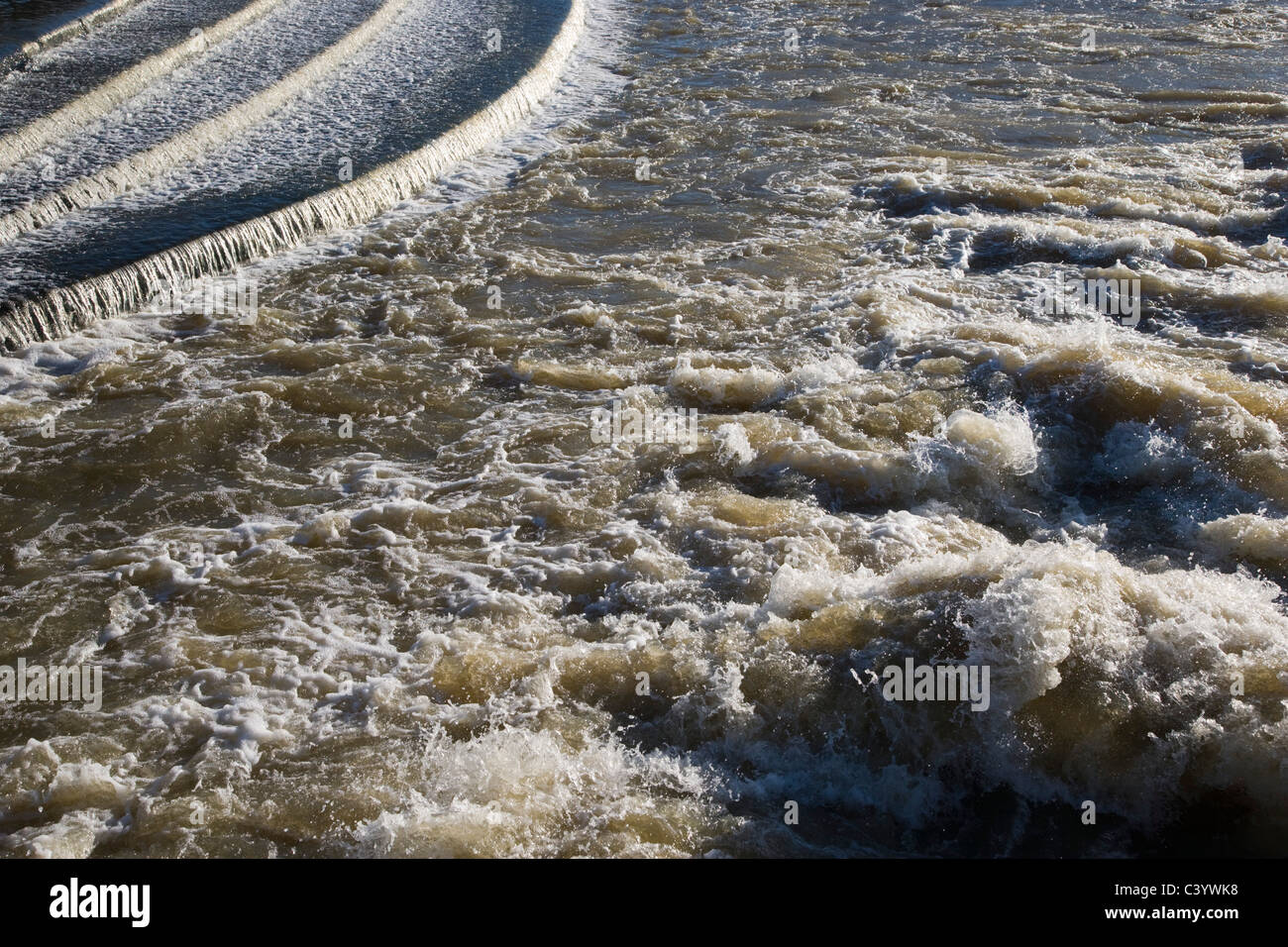 Waters of Hambleden Weir downstream of Henley-on-Thames. Oxfordshire. England. UK. - Stock Image