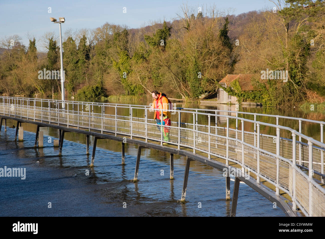 Hambleden Weir downstream of Henley-on-Thames. Oxfordshire. England. UK - Stock Image