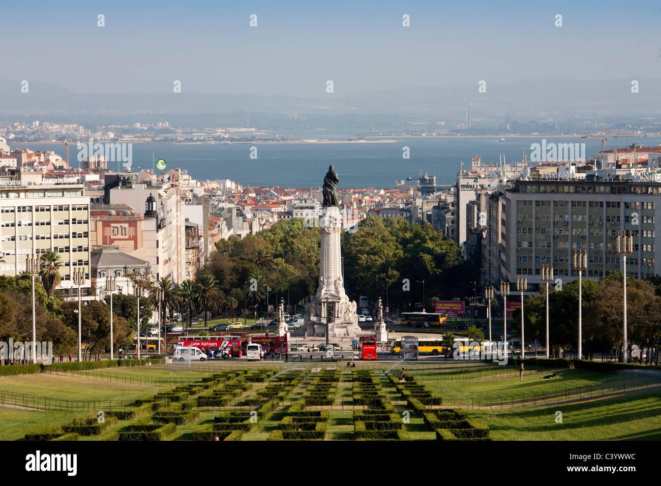 Portugal, Europe, Lisbon, Eduardo, park, park, column, overview, sea, town, city, - Stock Image