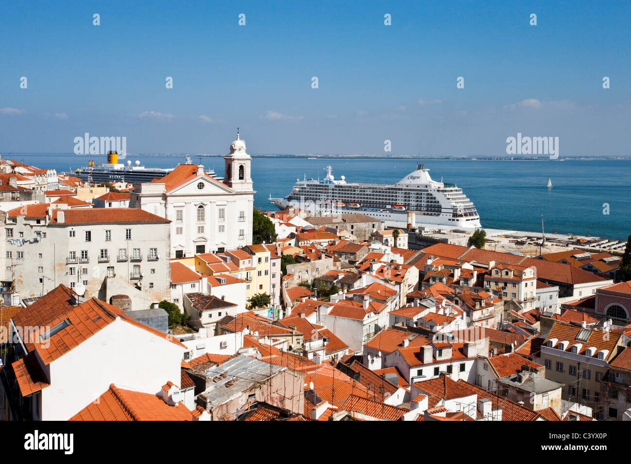Portugal, Europe, Lisbon, Alfama, Old Town, roofs, sea, ships - Stock Image