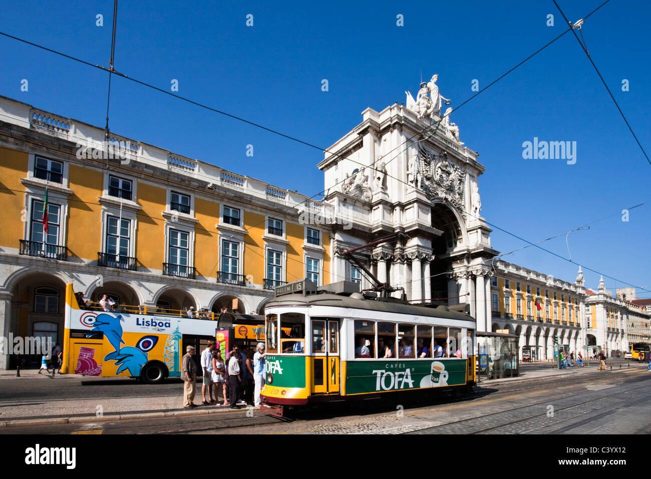 Portugal, Europe, Lisbon, Comerico, archway, tram, streetcar, streetcar, tourism, - Stock Image