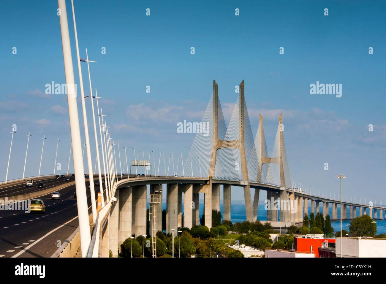 Portugal, Europe, Lisbon, bridge, moulder, Vasco there Gama, largely - Stock Image